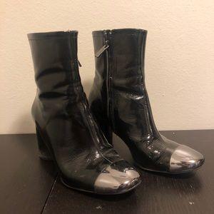 ZARA black faux leather booties